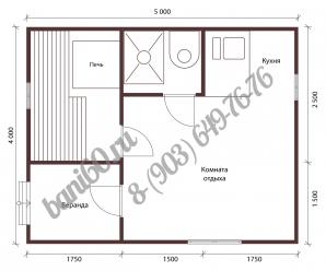 Проект бани 4x5 с верандой и кухней