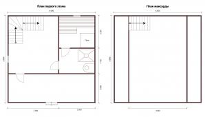 Проект бани 4x6 с верандой и мансардной крышей