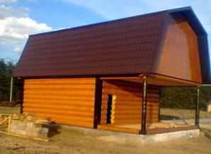 Баня 6 на 6 с верандой и мансардной крышей