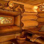 Интерьер русской бани из сруба